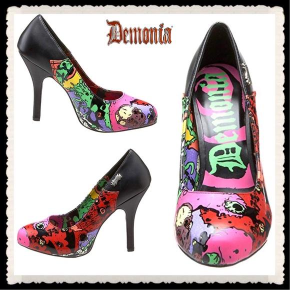a204252777c8 Demonia Shoes - 🕷Demonia Zombie-01 multicolor goth graphic heels